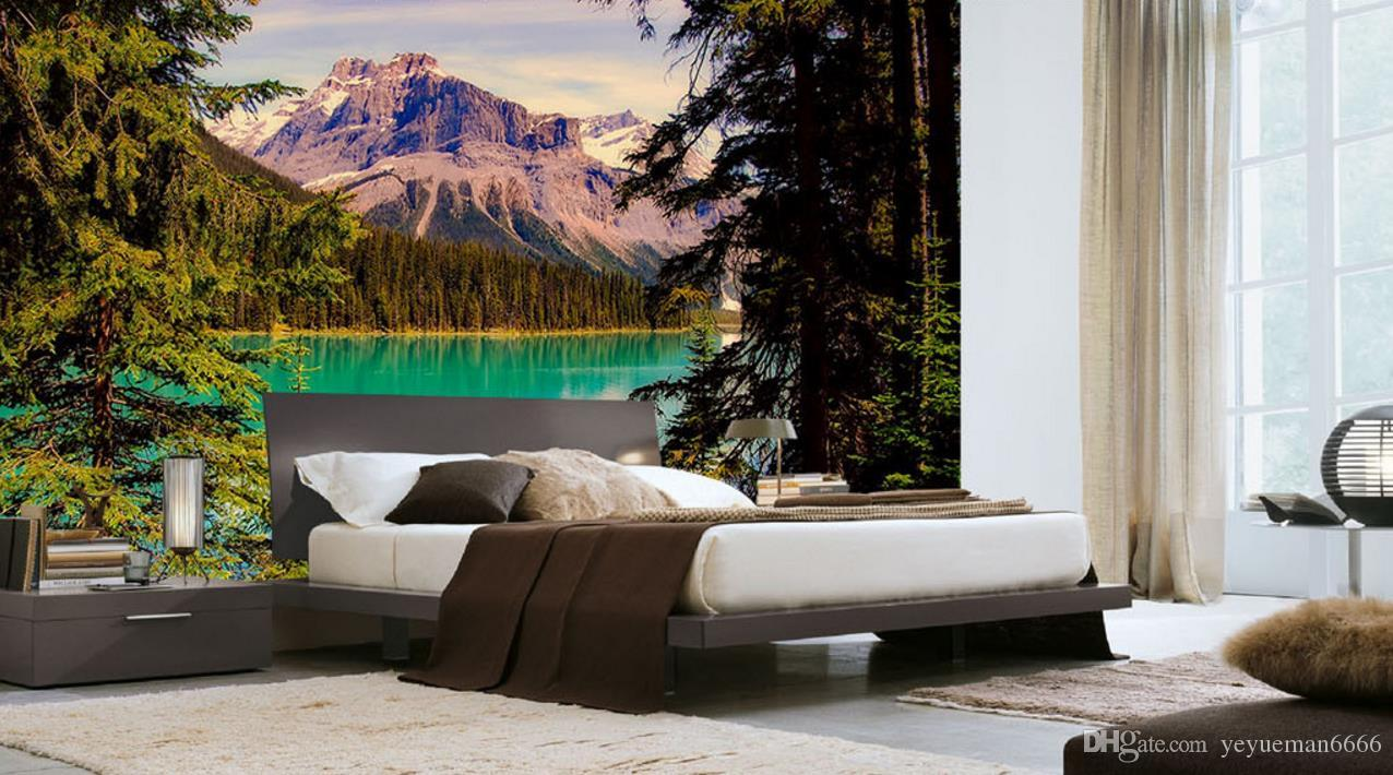 Custom Lake landscape beautiful scenery TV background wall nonwoven wallpaper brick wall 3d wall murals wallpaper for bed room