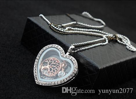 Fashion Costume Accessories Jewelry Austrian Crystal Heart Life Christmas tree Pendant Magic Box Open Real Gold Sweater Necklaces For Women