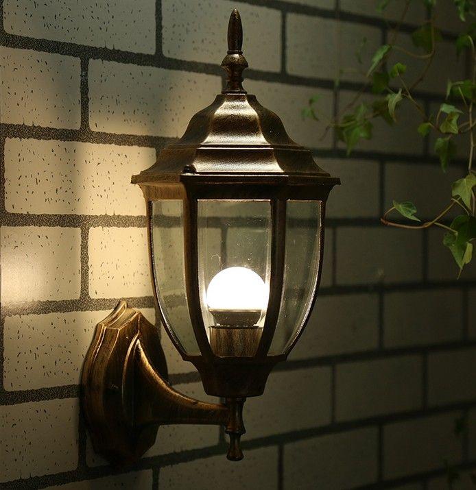 Lampada da parete esterno europea villa balcon impermeabile semplice lampada da cortile navata creativa in alluminio