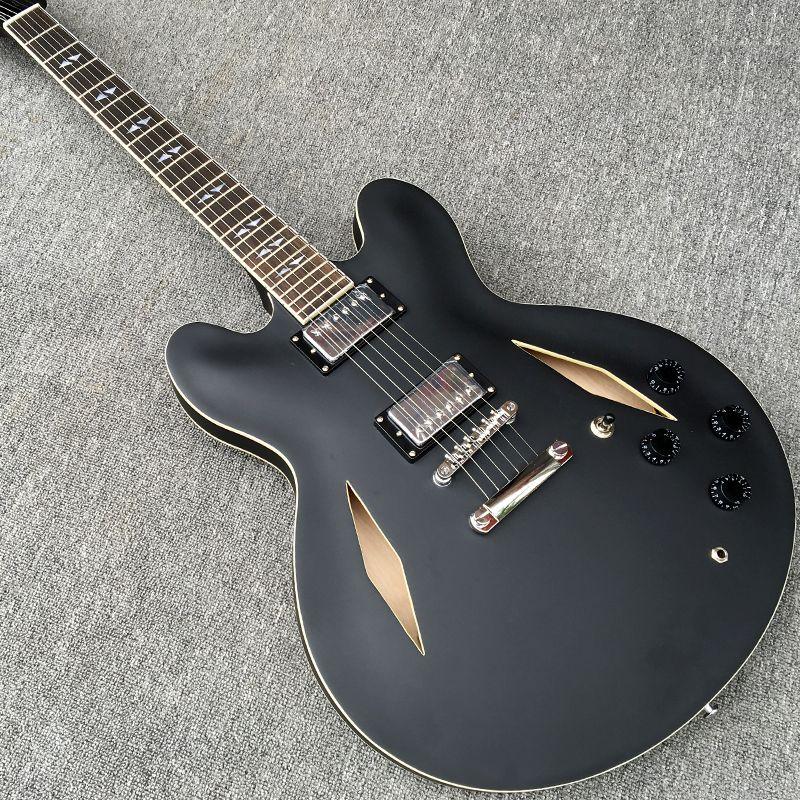 Custom Shop Dave Grohl Dg 335 Matte Black Semi Hollow Body Jazz Electric Guitar Guitarra Dual Diamond Holes Split White Mop Inlay