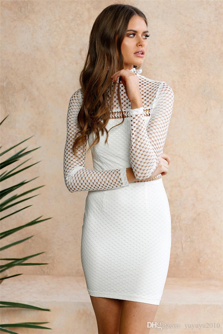 Nuevo cuello alto ahueca hacia fuera el vestido ajustado midi sexy de manga larga club del otoño del remiendo sólido de las mujeres elásticos vestidos elegantes mtl170811