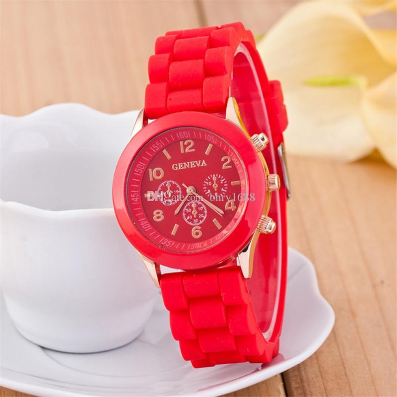 GENEVA watches for mens women luxury silicone watch Shadow fashion unisex silicone quartz rose gold men dress wrist watches