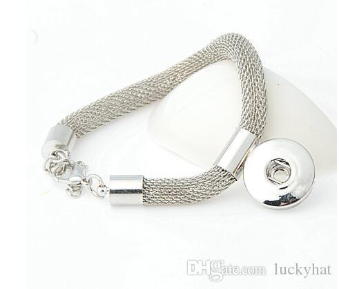 Hot Mesh or argent plaqué unisexe diy noosa bouton alliage bracelet bijoux bouton pression bracelet bracelet ajustement 18mm charme goutte expédition