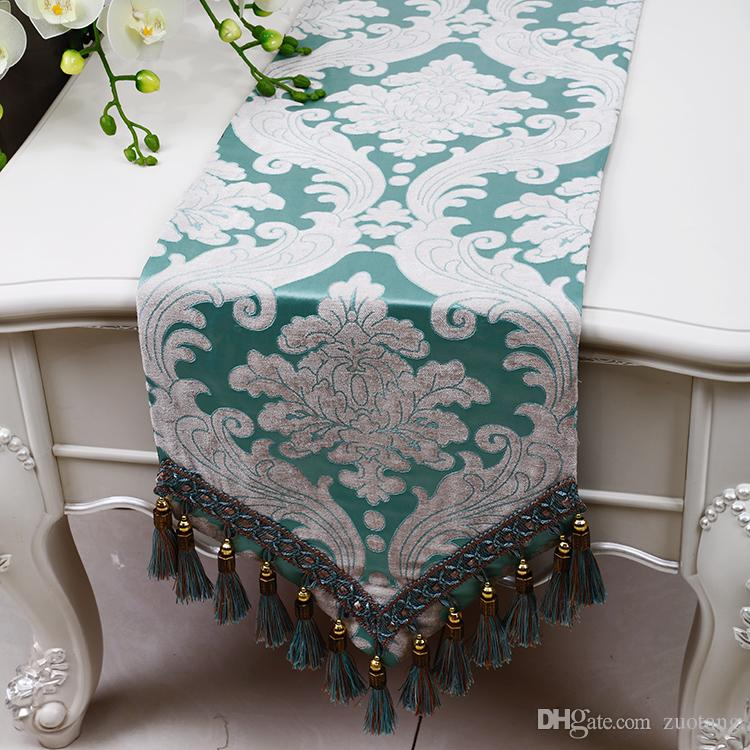 Multi Tassel Embossed Jacquard Table Runner Classic Europe American style Tea Table Cloth Dining Table Mats Protective Pads 200 x 33 cm