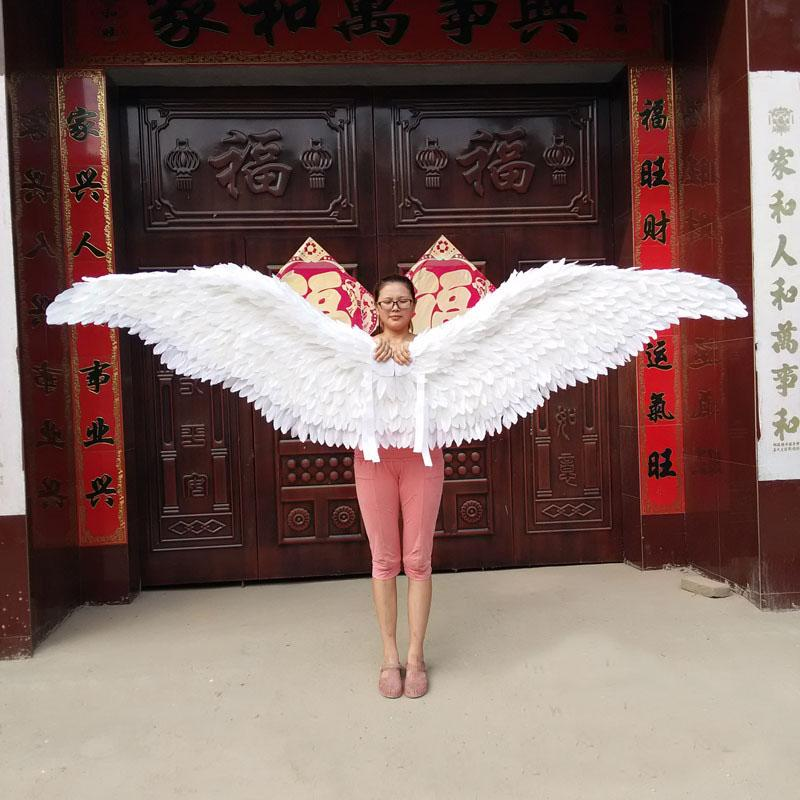 EMS Large size white angel feather wings beautiful rose red fairy wings stage performance supplies