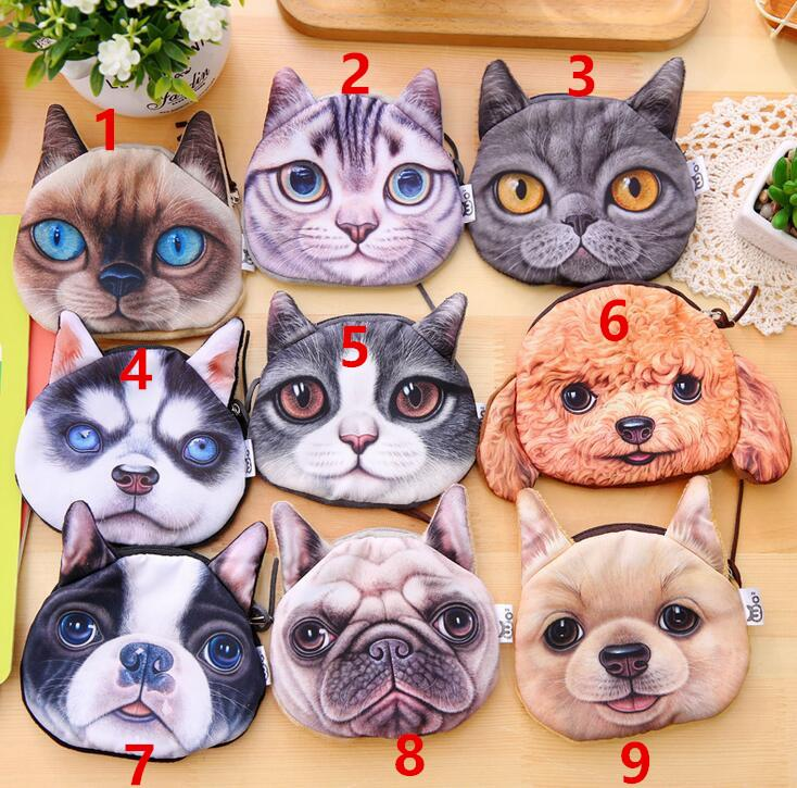 Saco de crianças 3D saco da carteira das senhoras face zipper mini cat coin bolsas cão das crianças bolsa de pelúcia bolsa de moedas moedas bolsa monedero gato