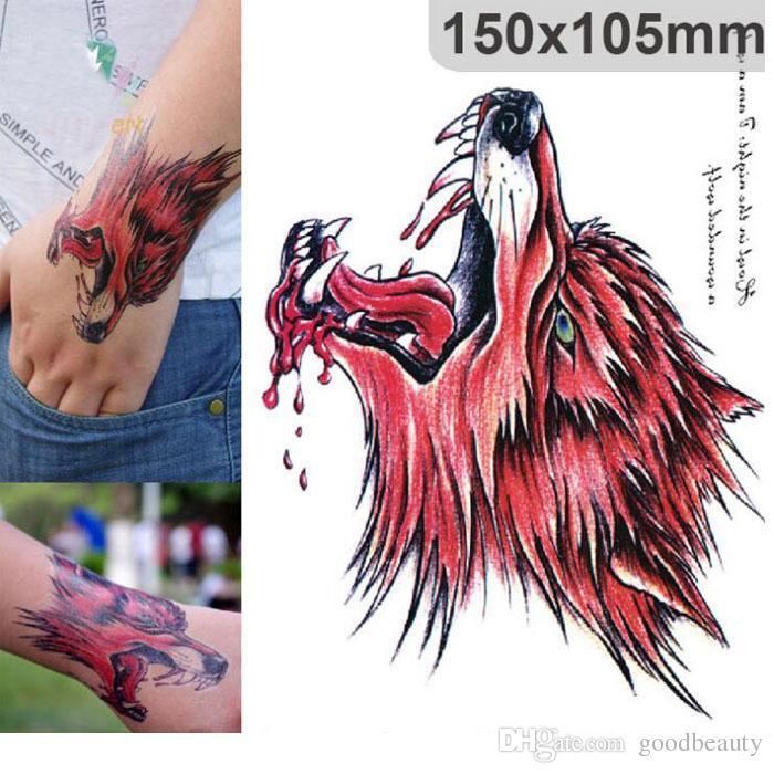 Lobo De Cabeza De Lobo De Sangre Roja Lobo Tatuaje Temporal Body Art