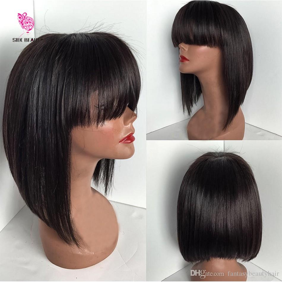 """12"""" 130 Density Fringe Human Hair Short Bob Wigs With Bangs Virgin Brazilian Full Lace Wig With Bangs Glueless Lace Front Wig"""