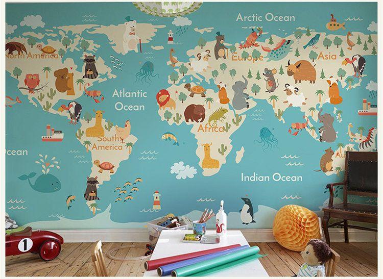 Compre Cartoon Animal Mapamundi Wallpaper Habitación De Los Niños Niños Y Niñas Dormitorio Papel Tapiz Mural Mural Revestimiento De Paredes