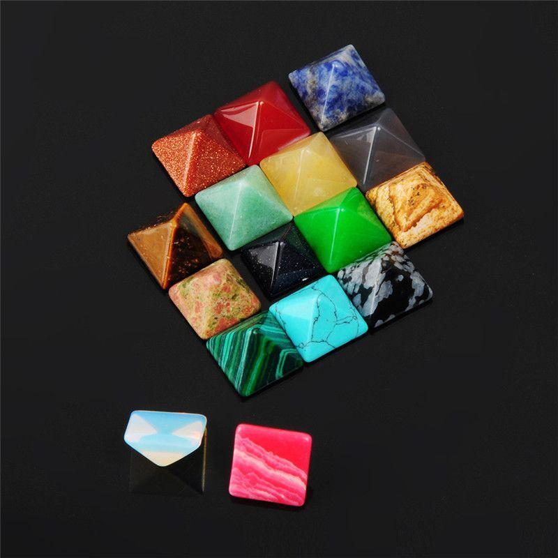 حار diy الخرز كابوشون قص الجودة poliesh جيد متعدد الشفاء كريستال الطاقة الأحجار 14 ملليمتر الهرم عينة فضفاض gemstone المعدنية
