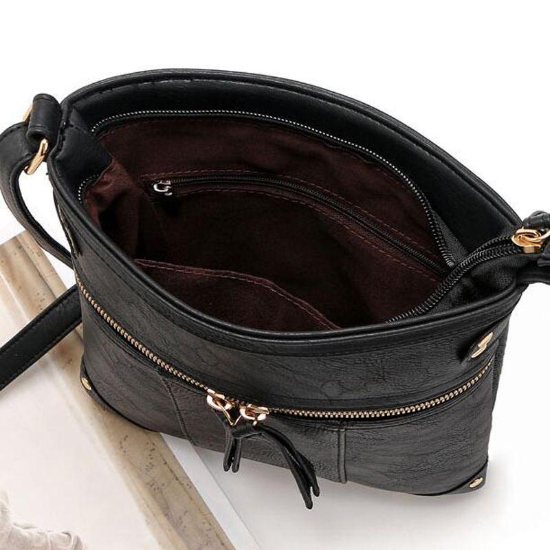 New sale bags for women vintage messenger bag double zipper PU leather handbag cross body bag casual shoulder bags bolosa