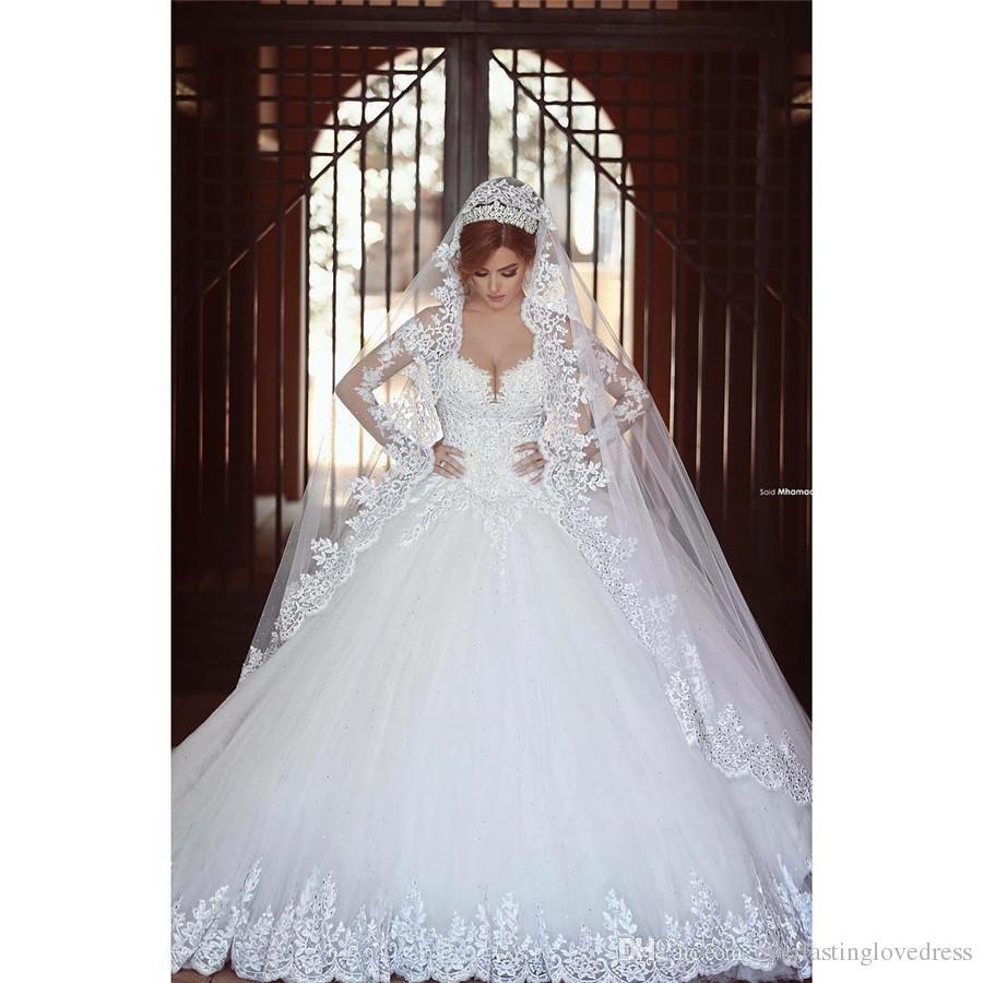 Saidmhamad maniche lunghe pizzo applique cristalli Ball Gown abiti da sposa cappella treno Incredibile nuovi abiti da sposa