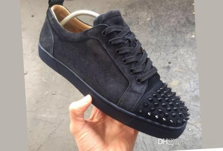 572ff1213a3 Dark Grey   Black Suede Junior Spikes Men S Flat Shoes Red Bottom ...
