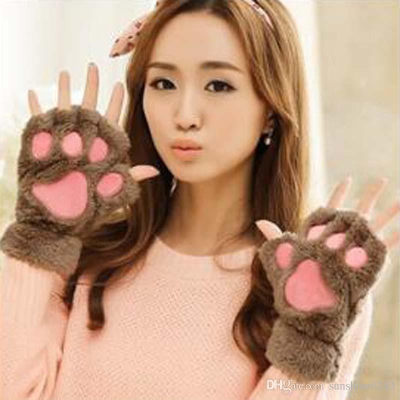 Karikatur-Katzen-Tatzen-Plüsch-Handschuhe kurze fingerlose halbe Finger-Handschuhe tragen Katze-Plüsch-Tatzen-Greifer-halb Finger-Handschuh-weiche halbe Abdeckungs-Handschuhe