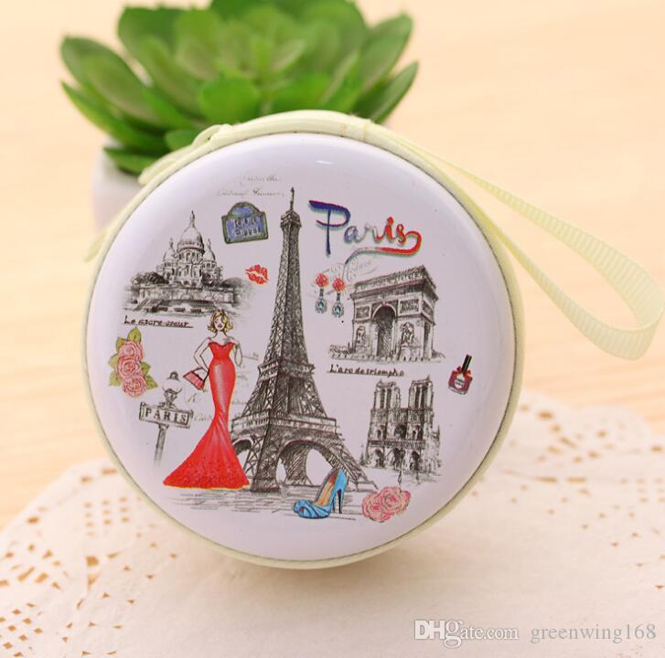 New fashion round coin purse Women Mini Cute Round Headset Paris Eiffel Zipper change Purse Lady Key Wallet Pouch Female Bag