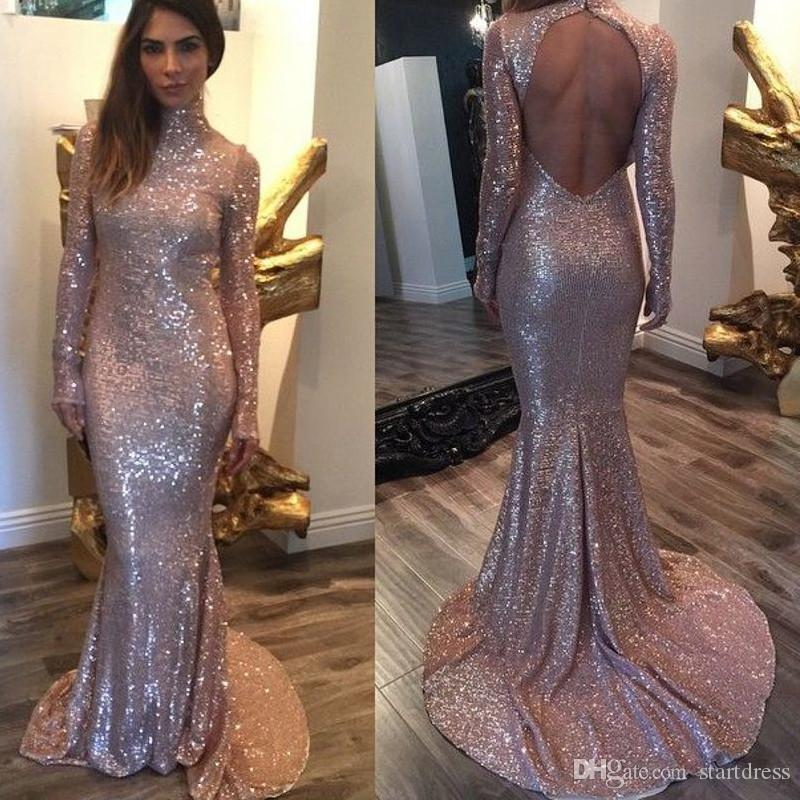 Fashionable Pink High Neck Sequin Dresses Sexy Open Back Long Sleeve Evening Dress Elegant Formal Prom Party Gowns Sweep Train Mermaid Dress