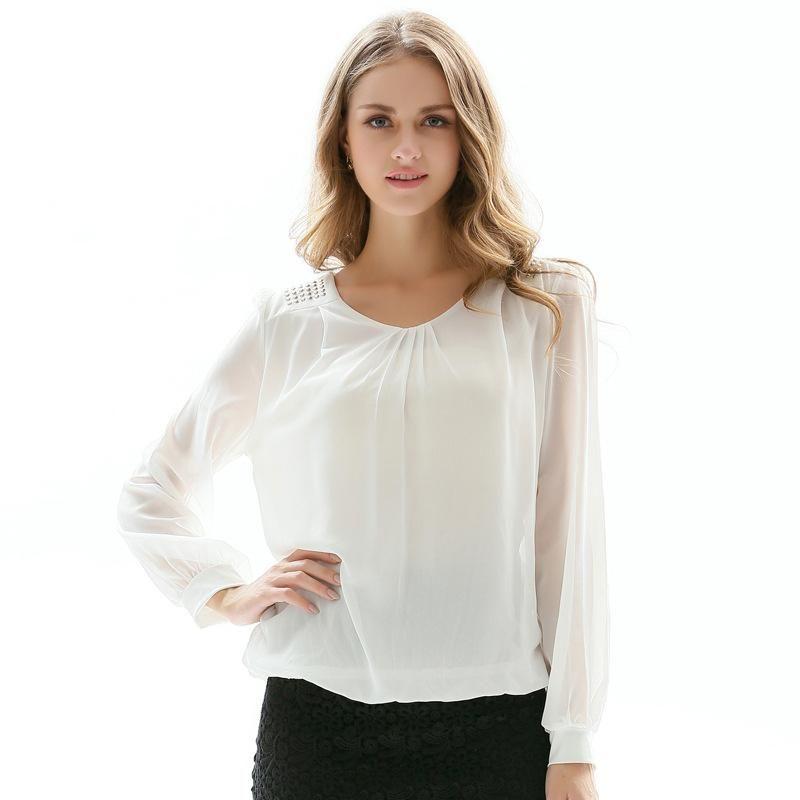 77b6d71359e9 Compre Blusas De Gasa De Tallas Grandes 4XL Camisa De Mujer Otoño Elegante Manga  Larga Negro / Blanco Oficina Formal Pullover Tops Para Mujeres Blusas ...