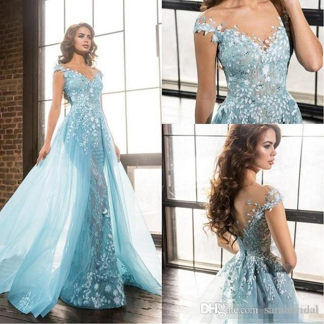 Modest Lace Mermaid Celebrity Prom Dresses 2019 New Appliques Illusion Cap Sleeve Sheer Pageant Elie Saab Evening Party Gowns with Train