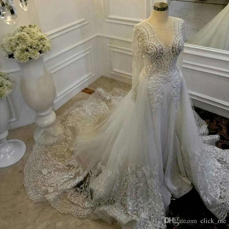 Vintage Sheath Wedding Dresses With Detachable Train Sheer Neckline Lace And Tulle Wedding Gowns Illusion Long Sleeves Bridal Dress