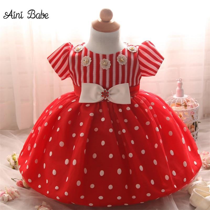 2018 wholesale aini babe red christmas dress newborn baby tutu baptism dresses toddler girl christening gown baby girl 1 year birthday outfits from