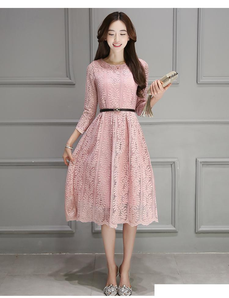 19c2f108dd Vintage White Lace Dress Plus Size Summer Spring Three Quarter O-neck  Elegant Dresses for Women Big Size S-3XL Black Pink Online with   26.35 Piece on ...