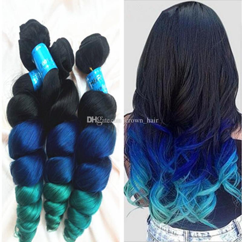 الصف 8a أومبير الشعر التمديد 1b أزرق أخضر 3 لهجة الشعر اللحمة الموضة أومبير اللون فضفاض موجة الشعر البشري حزم 3 قطع
