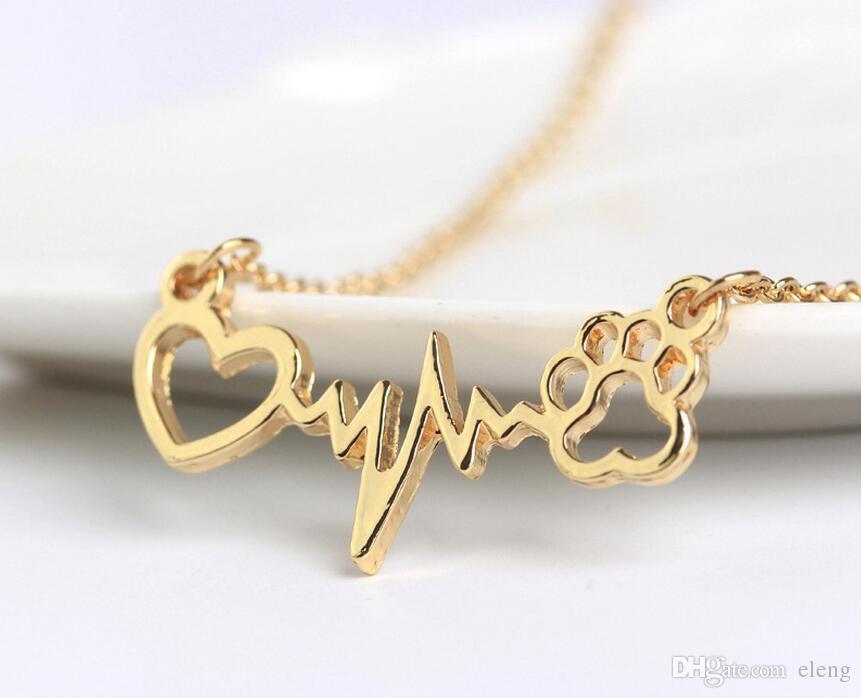 2018 évider Love Patte d'amour Electrocardiogramme ecg Colliers avec de l'argent en or rose Chaîne pour les femmes Lovers Bijoux fantaisie 327