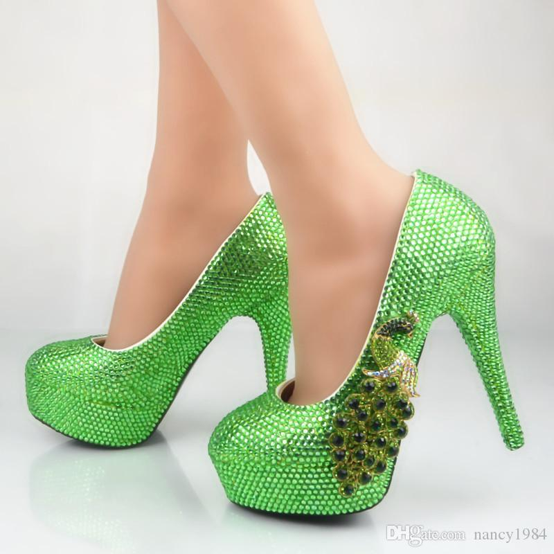 Grüne Strass Frauen High Heels runde Kappe Pfennigabsatz Hochzeit Party Schuhe Plus Größe 45 Graduation Prom Pumps