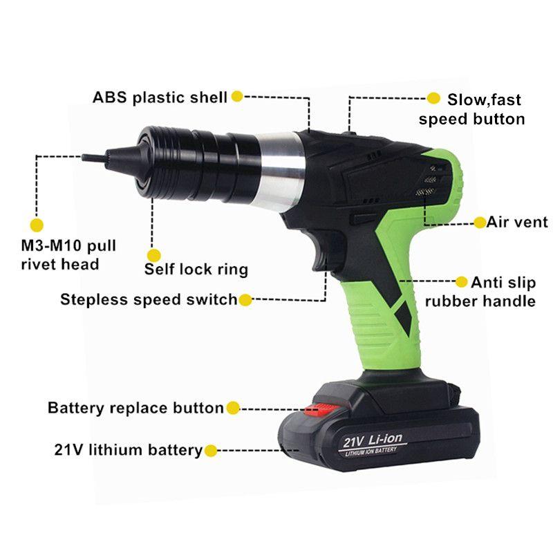 21v portable cordless electric rivet gun rechargeable riveter battery riveting tool pull rivet nut tool 2 battery M8/M10 head