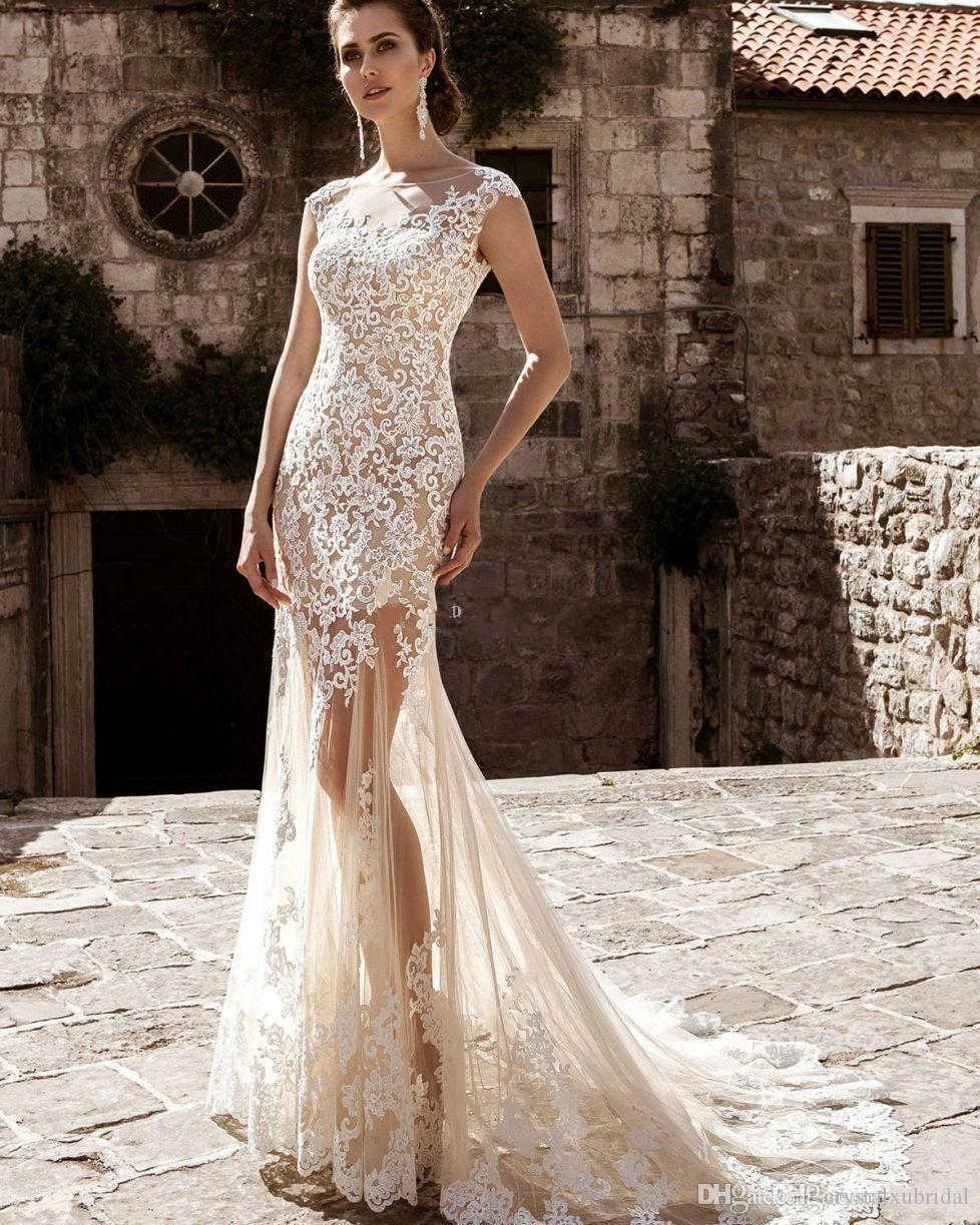 2018 Barato Sereia Vestidos de Noiva Champagne Nude Tulle Rendas Brancas Apliques Overskirts Trem Destacável Sheer Personalizado Plus Size Vestidos de Noiva