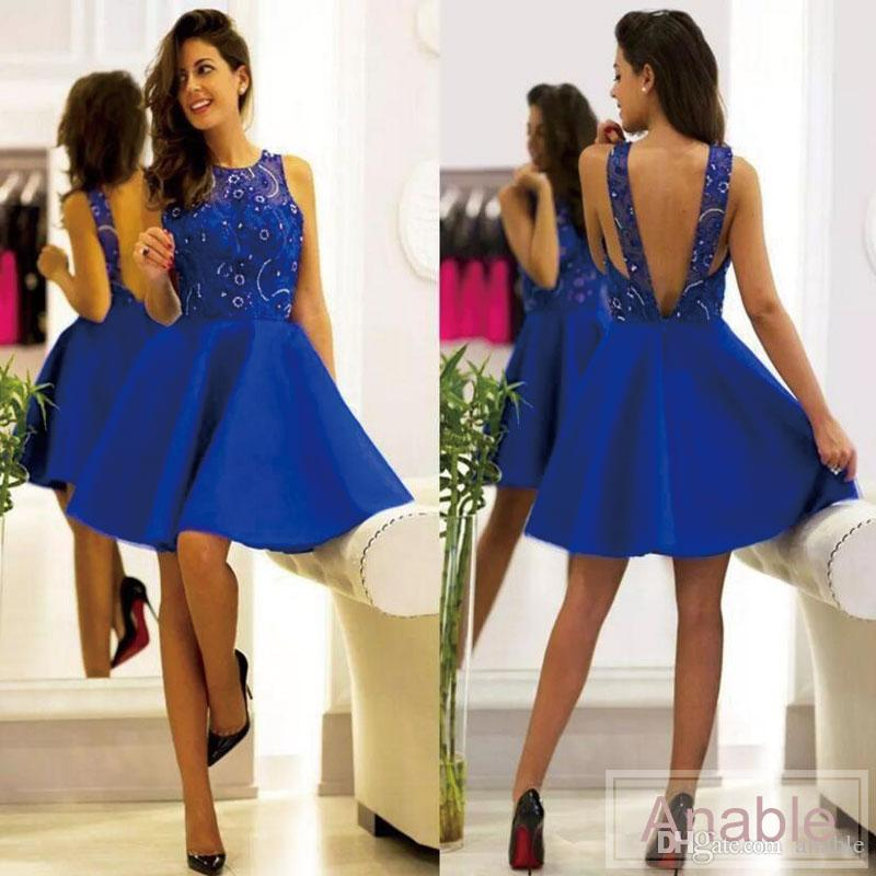 2017 Cheap Royal Blue Knee Length Short Cocktail Dresses Jewel