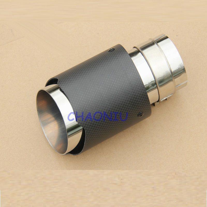54mm 76mm enduit de fibre de carbone + queue d'échappement en acier inoxydable