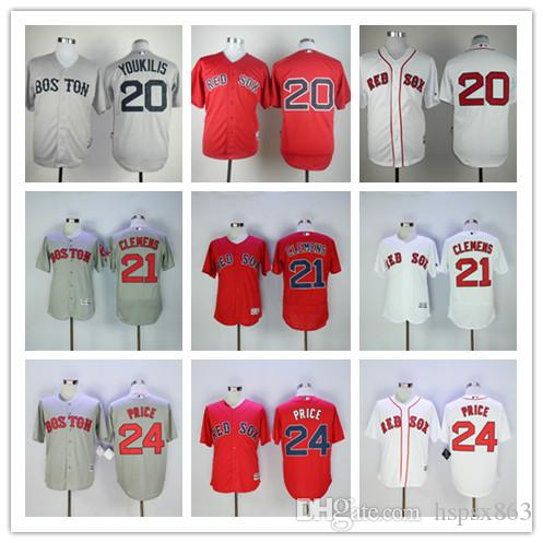 2017 fast delivery mens boston red sox baseball jersey 20 kevin youkilis 21 roger clemens 24