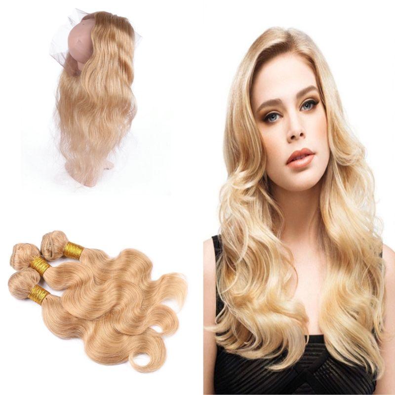 Brasilianische Körperwelle 27 Menschenhaar spinnt mit Pre Gezupft 360 Spitze Frontal Honig Blonde 360 Spitze Frontal Mit 27 Haarbündel