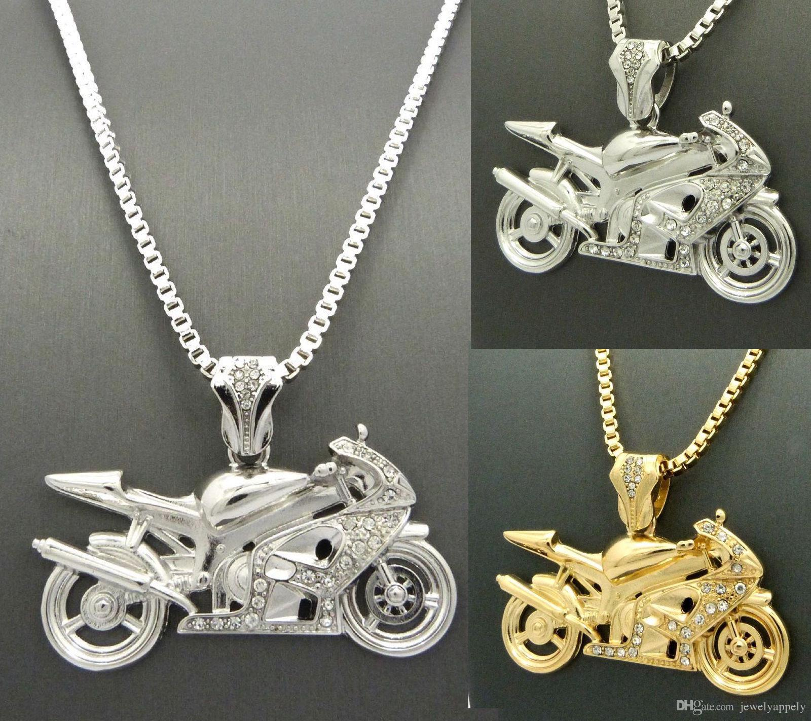 2019 New Mens Iced Out Gold Silver Motorcycle Pendant 3mm