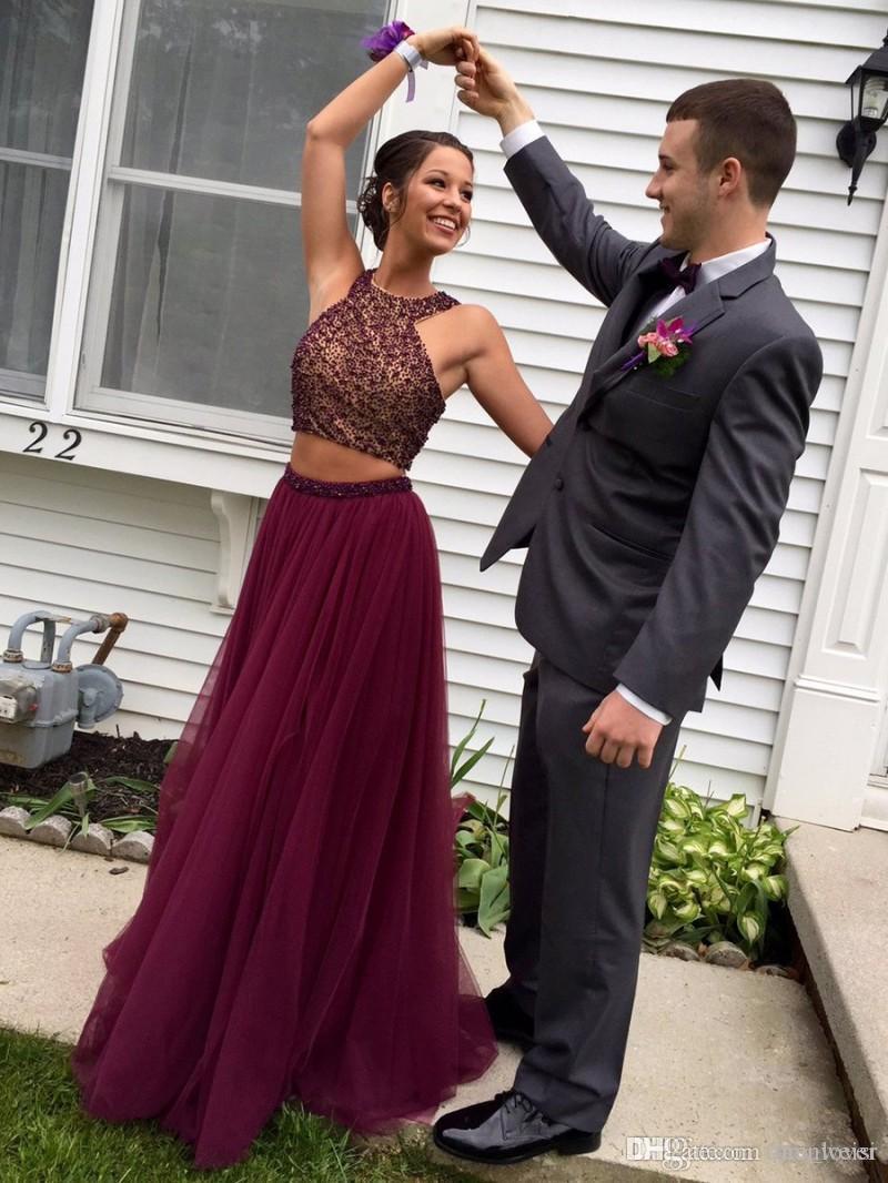 Abiti da ballo da ballo a due pezzi a buon mercato Tulle in rilievo lungo in rilievo una linea Abiti da sera formale Plus Size Party Dress
