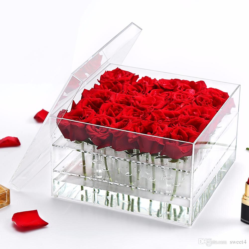 2019 acrylic flowers case rose box with cover for eyebrow pencil or flowers sotrage from sweet4 13 07 dhgate com