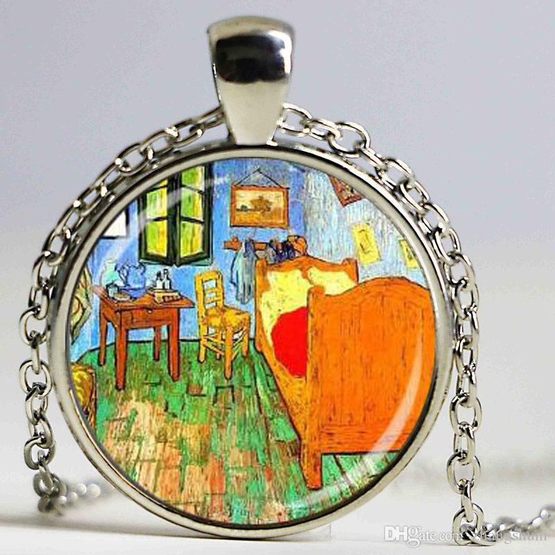 Van Gogh impression peinture Collier Fleur Collier Art Ornements