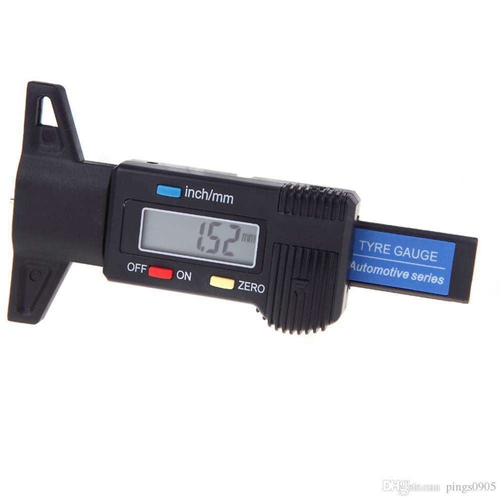Portablbe Digital LCD Tyre Tire Tread Depth Gauge Meter Ruler for Motorcycle SUV Truck 0-25.4mm Metric / Inch Black