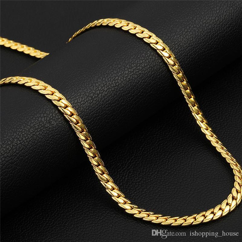 С 18kgp штамп реального 18K желтого золота покрытием 5 мм 61 см 24