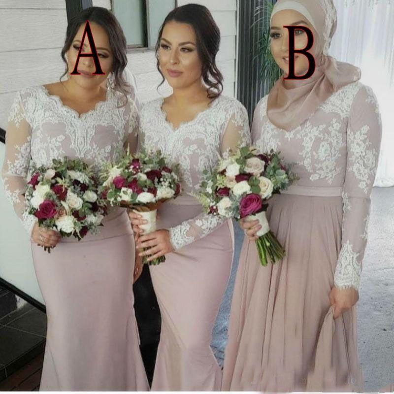 Vestidos de dama de honor 2017 Para bodas Musulmanes Cuello en v Sirena Manga larga Apliques de encaje blanco Tren de barrido Talla grande Vestido formal de dama de honor