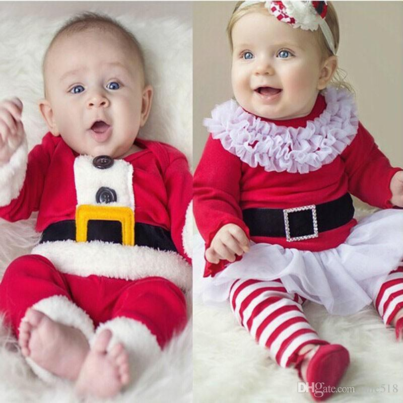 2018 new children christmas clothing set baby boys and girls christmas suit and dress santa claus costumes newborn enfant clothes from mic518