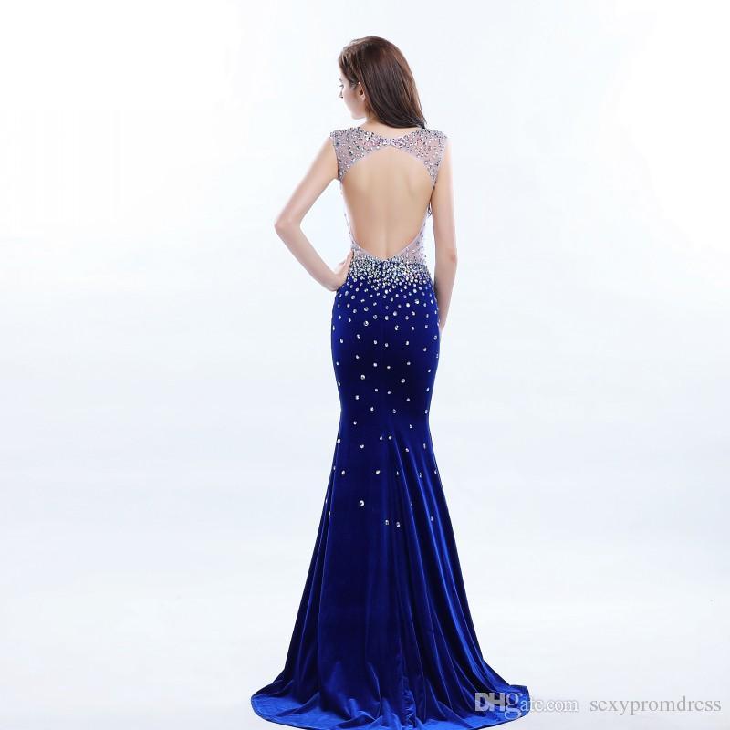 Tiefem V-Ausschnitt Perlen Durchsichtig Prom Kleider Sexy Open Back Sleeveless Velvet Mermaid Abendkleider Sweep Zug