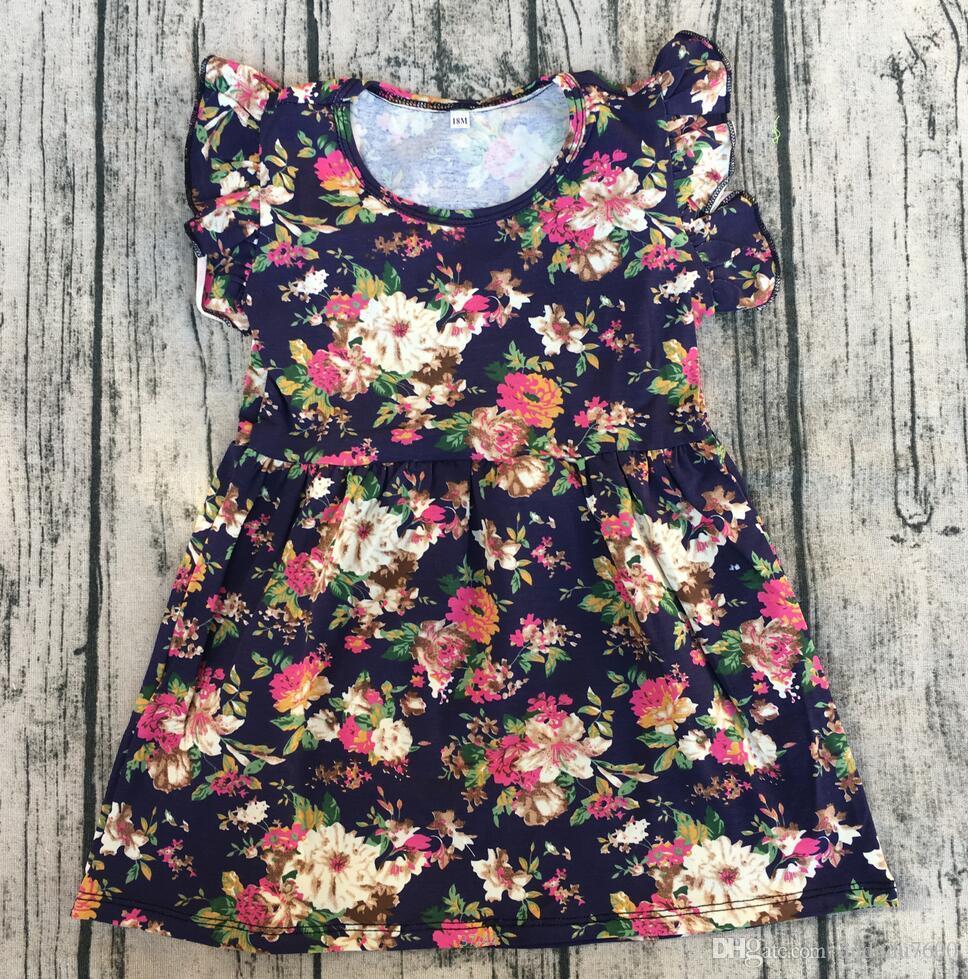 Kinder Cotton Frock Designs Phantasie Kleider Mode-Stil für Baby Kinder Mädchen Sommer Flattern sleeveless Kleider