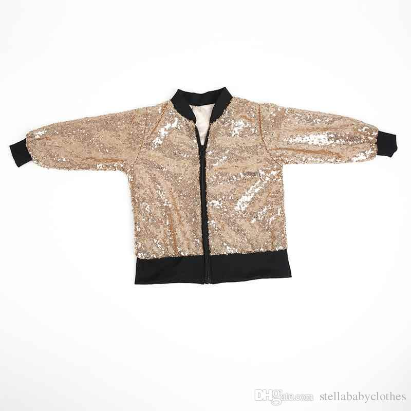 6d2aeb607 Fashion Sequins Baby Girls Jacket Coat Spring Autumn Zipper Outwear Hot  Sales European Outwear Kids Clothes Bling Bling Sequins Jacket Jackets And  Coats For ...