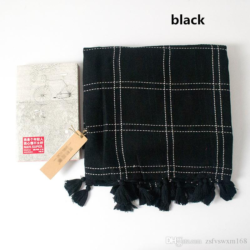 ذات الاستخدام المزدوج نقية اللون وشاح الترتان وشاح القطن والمواد شال طويل جدا