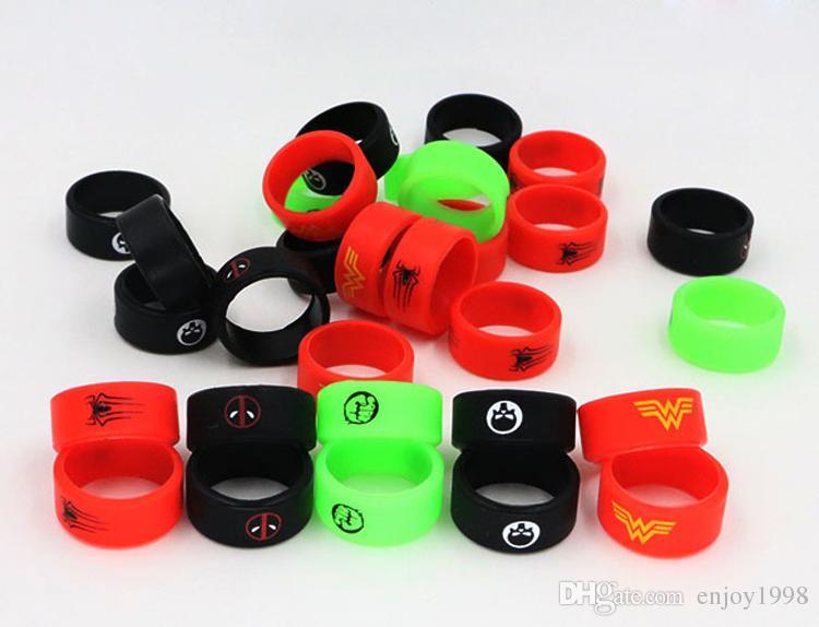 Deadpool Flash Hulk Batman Super Hero USA Logo HOT Bandas de vapor con color Elija Slicon Ring para DIY Tank Mod Custom Silicone Vape Bands