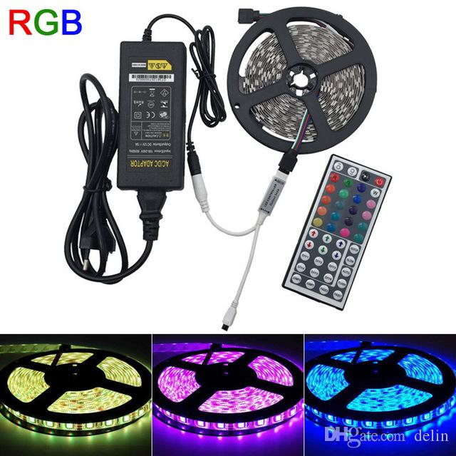 Compre 5m rgb led strip 5050 waterproof 60led m dc12v led strip compre 5m rgb led strip 5050 waterproof 60led m dc12v led strip light 300 leds 44 llaves ir remote controller 12v 220v fuente de alimentacin a 343 aloadofball