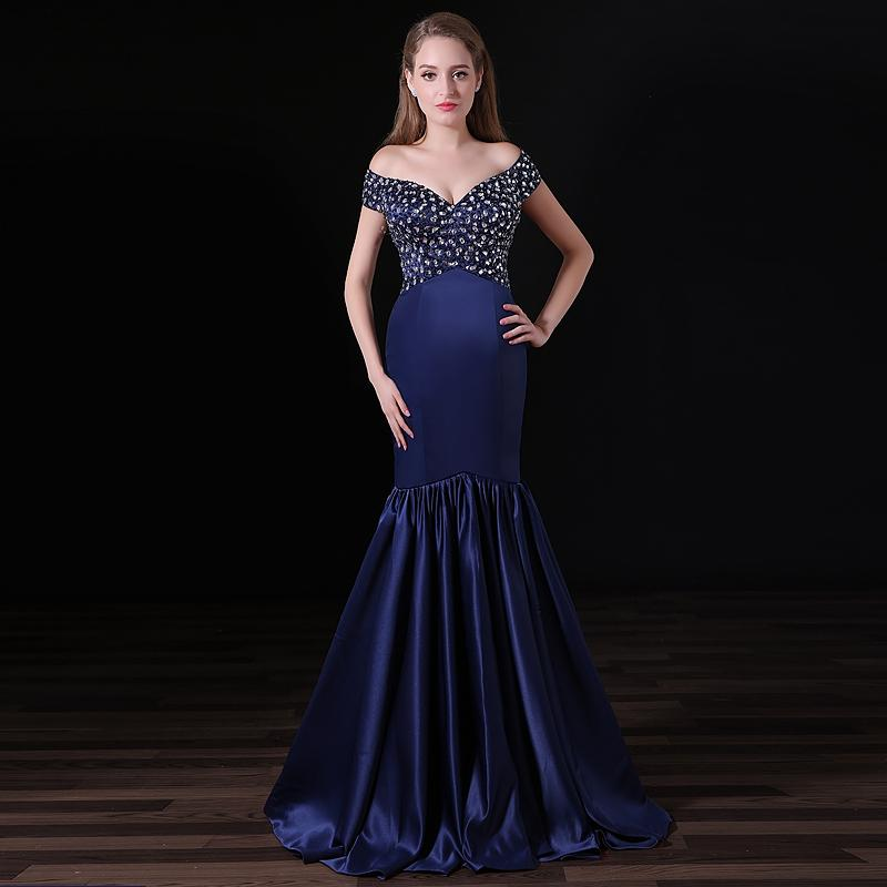 733554c3a7b8 Blue Mermaid Long Evening Dresses 2017 V Neck Sleeveless Beading Crystal  Floor Length Formal Prom Gown Party Dresses Custom Made Plus Size Royal  Blue Prom ...
