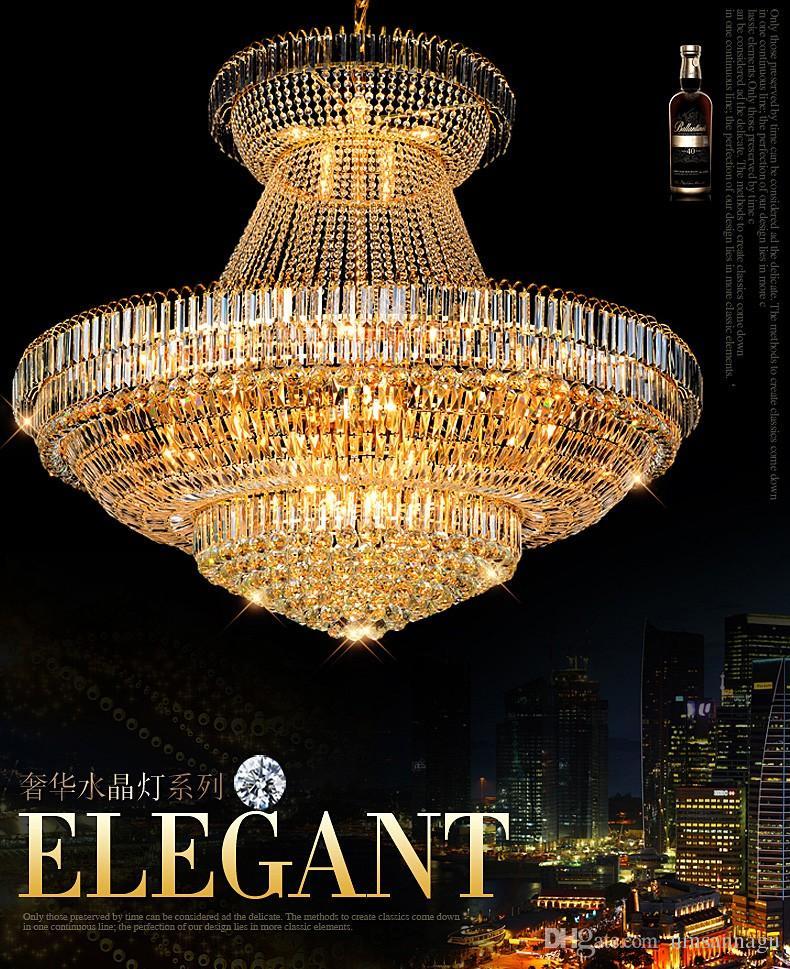 Lampadari di cristallo moderno apparecchio di illuminazione grande rotondo oro lampadario di cristallo lampada a led droplight casa coperta hotel club luce d140cm * h120cm